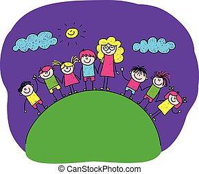 boldog, kép, vektor, tanár, gyerekek