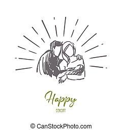 boldog, kéz, gyermek, elszigetelt, concept., anya, atya, újszülött, vector., húzott