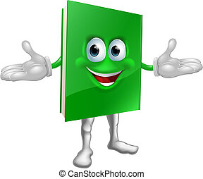 boldog, könyv, karikatúra, ember