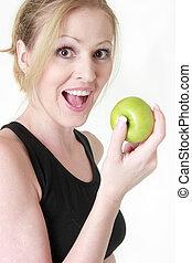 boldog, körülbelül, nő, alma, eszik