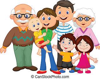 boldog, karikatúra, család