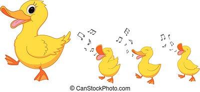 boldog, karikatúra, kacsa család