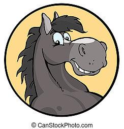 boldog, karikatúra, ló