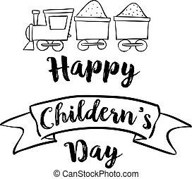 boldog, kiképez, childrens, nap