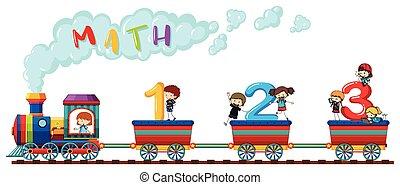 boldog, kiképez, számolás, számok, gyerekek