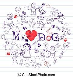 boldog, kutyák, gyerekek