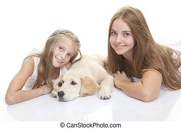 boldog, kutyus, kutya, gyerekek