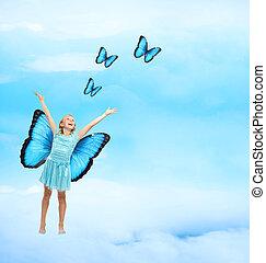 boldog, leány, fiatal, pillangók