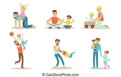 boldog, móka, állhatatos, ábra, csinos, vektor, birtoklás, apák, -eik, élvez, játék, jó idő, gyerekek
