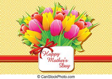 boldog, nap, kártya, anya