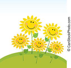 boldog, napraforgók, kert, eredet