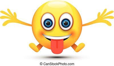 boldog, nyelv out, emoji
