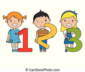 boldog, számok, gyerekek