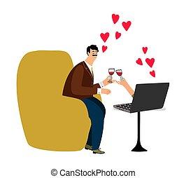 boldog, szeret, illustration., párosít, notebook., vektor, csevegés, online elavult, ember