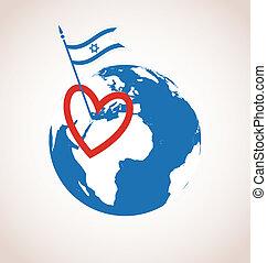 boldog, szeret, israel., szabadság nap