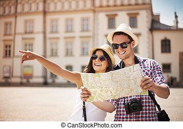 boldog, természetjáró, város térkép, városnézés
