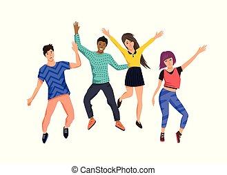 boldog, ugrás, csoport, young emberek
