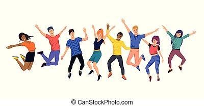 boldog, ugrás, fiatal, gyűjtés, emberek