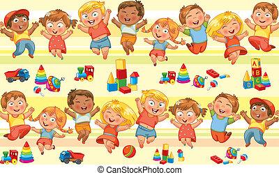 boldog, ugrás, gyerekek, hatalom kezezés