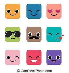 boldog, vektor, állhatatos, emoji