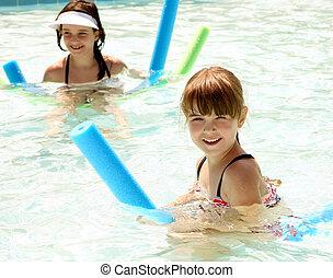 boldogan, lánytestvér, játék, úszás