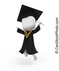 boldogan, ugrás, diplomás