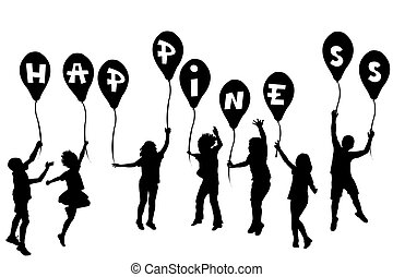 boldogság, körvonal, léggömb, gyerekek, birtok