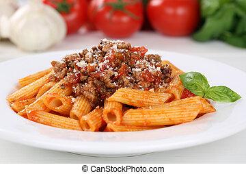 bolognese, főtt tészta, metélt tészta, szósz, étkezés, olasz