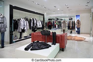 bolt, öltözet, szakasz, külső, női