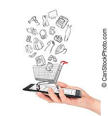 bolt, bevásárlás, birtok, concept., kordé, kéz, telefon, e-commerce., női, online, goods., rajz, üres, van