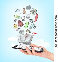 bolt, bevásárlás, birtok, színes, concept., kordé, kéz, telefon, e-commerce., női, online, goods., rajz, üres, van