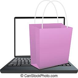 bolt, bevásárlás, laptop, online, táska, billentyűzet