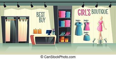 bolt, boutique., dél, vektor, női, interior., leány, öltözet