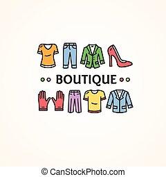 bolt, butik, vektor, concept., öltözet, vagy
