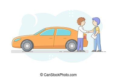 bolt, elkészített, repairman, remegő, ajándékoz, concept., vektor, áttekintés, rendbehozás, hands., jókedvű, autó, lakás, lineáris, vásárló, tulajdonos, munka, megelégedett, ábra, egyenruha, szerelő, karikatúra, vehicle.