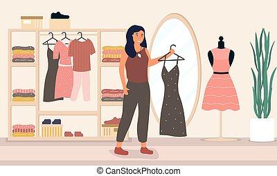 bolt, fárasztó, nő, öltözet, öltözék