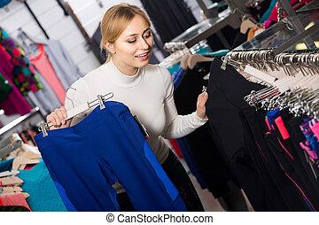 bolt, fiatal, eldöntés, leány, nadrág