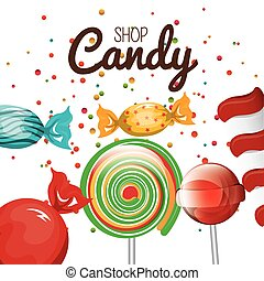 bolt, grafikus, spirál, cukorka, cukorka