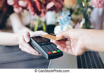 bolt, használ, fizetés, contactless, virág
