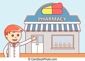 bolt, kábítószer, ábra, szórakozottan firkálgat