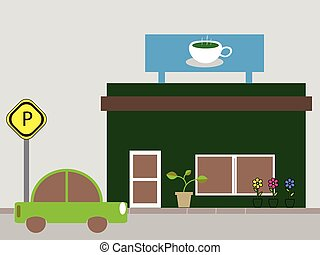 bolt, kávécserje, kávéház, vagy, bolt