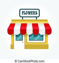 bolt, kevés, -, kicsi, épülethomlokzat, bolt, ikon