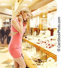 bolt, látszó, ablak, hölgy, meglehetősen