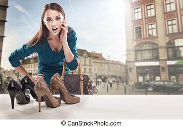 bolt, látszó, ablak, nő, fiatal