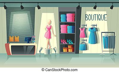 bolt, mód, butik, vektor, belső, öltözet, belső