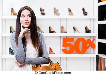 bolt, nő, 50%, fiatal, kiárusítás, portré
