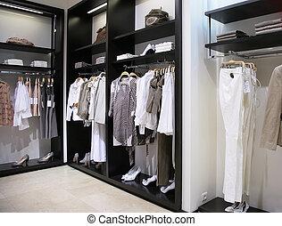 bolt, osztály, öltözék, cipők, nők