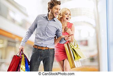 bolt, párosít, nevető, ablak, bámuló
