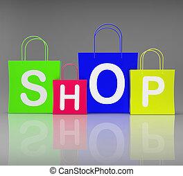 bolt, pantalló, bevásárlás, előadás, kiskereskedelem, vásárlás
