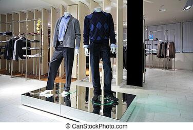 bolt, szakasz, férfiak, manneqiuns, öltözék